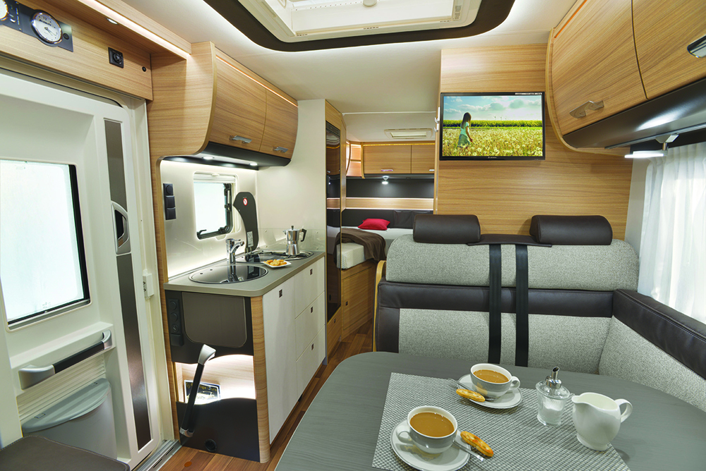 A front lounge motorhome layout