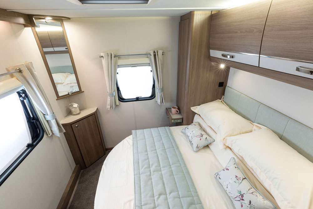 The bed in the Compass Casita 454 caravan