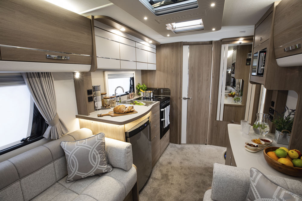 The interior of the Compass Casita 520 caravan