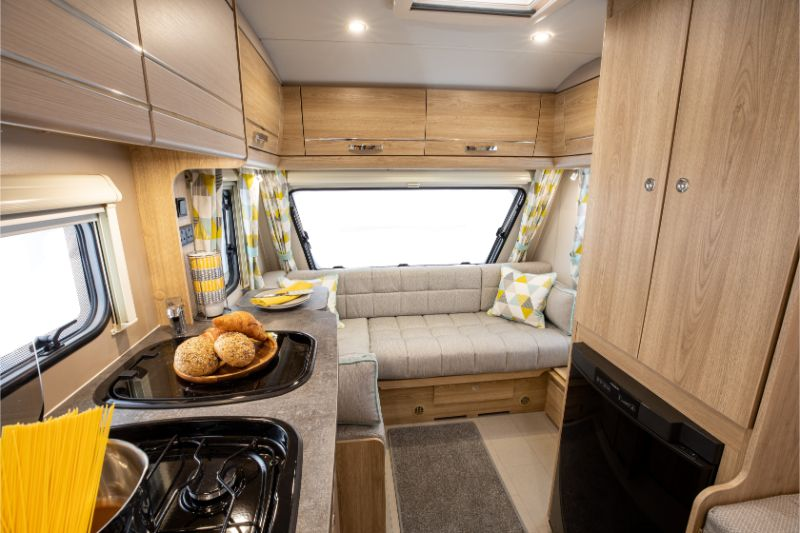 The interior of the Xplore 304 caravan