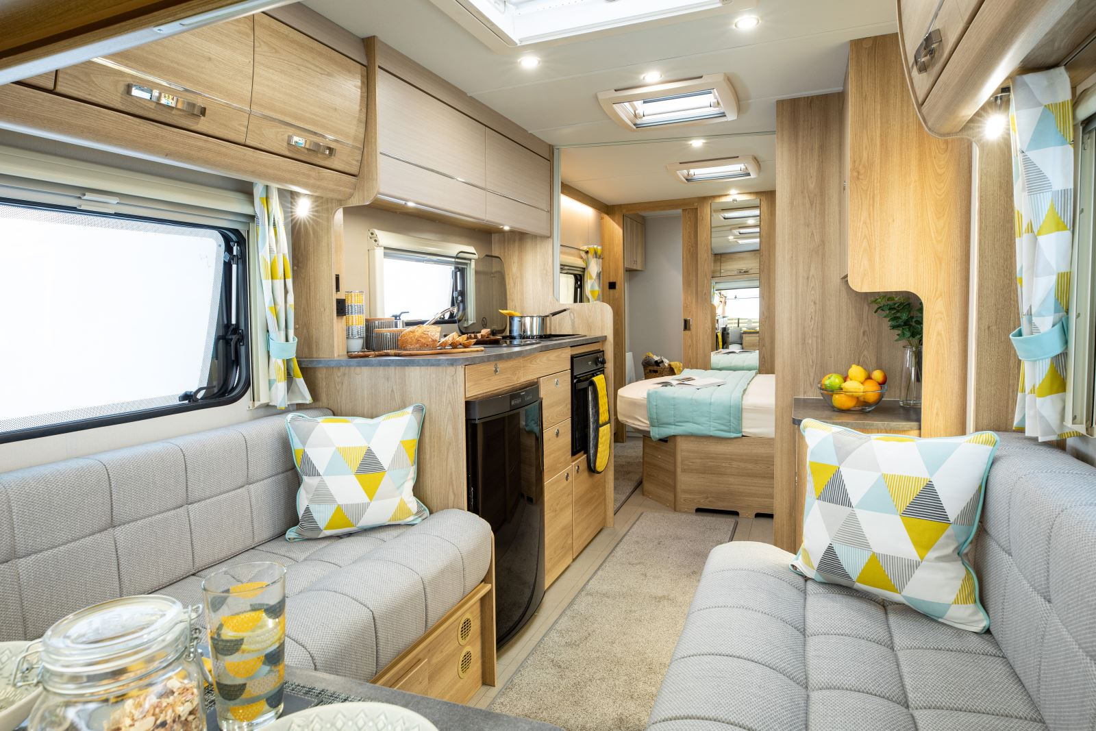 The interior of the Xplore 554 caravan