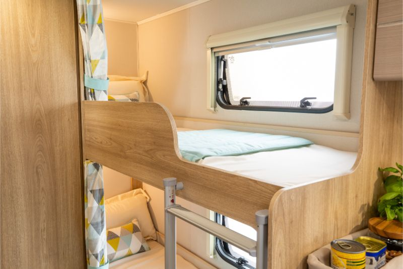Bunk beds in the Xplore 586 caravan