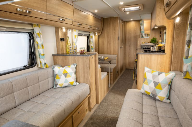 The lounge in the Xplore 586 caravan