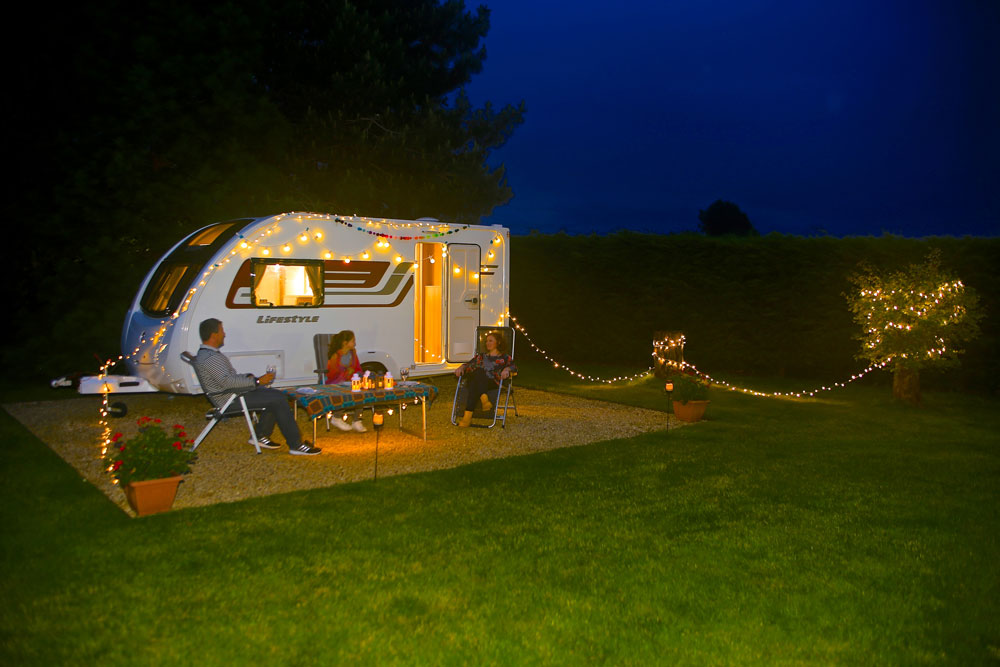 Outdoor lights around a caravan