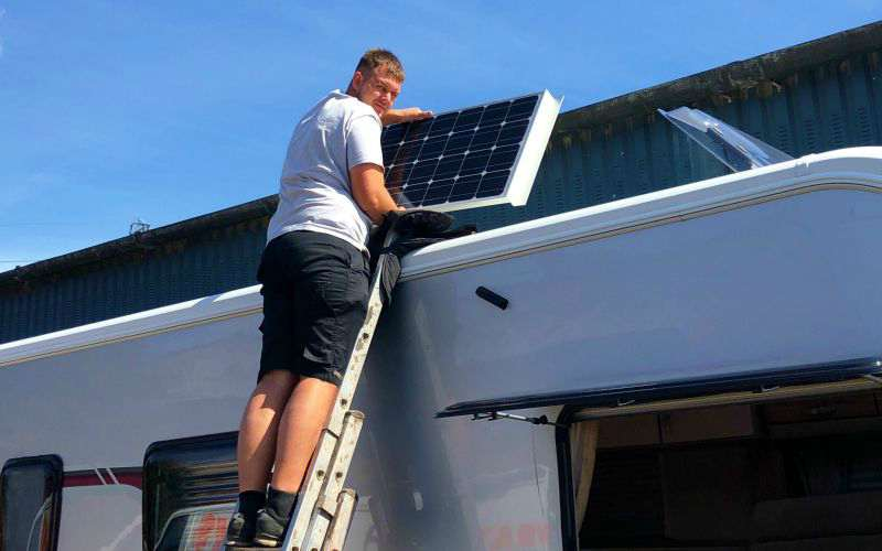 Step 1 - fitting a caravan solar panel