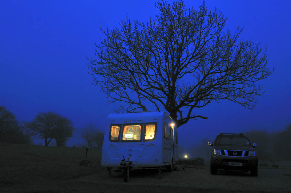 Holgates Silverdale Caravan Park at night