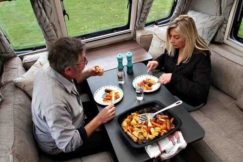 Monica and Rowland Rivron eating the Sausage and vegetable dish