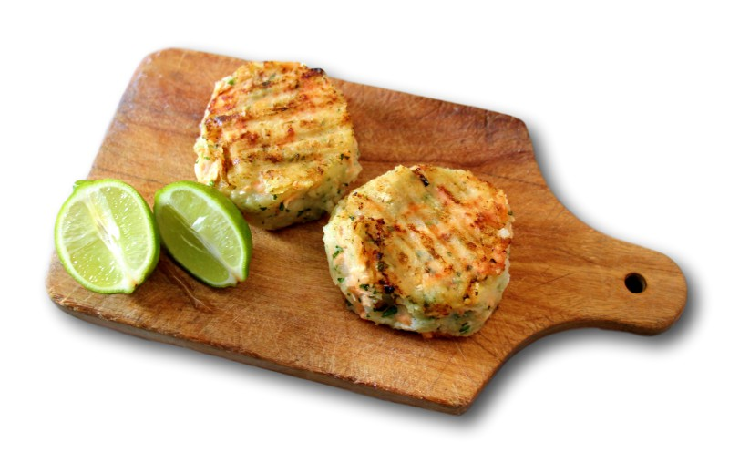 salmon fishcakes served by Monica Rivron