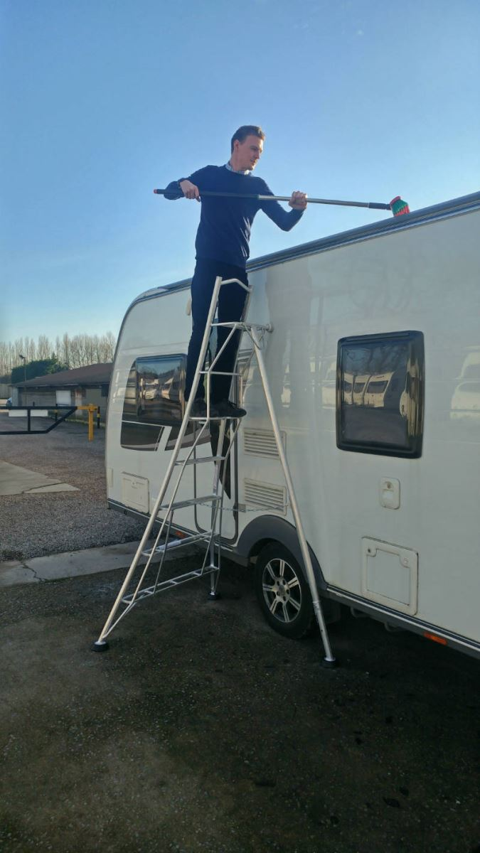 Henchman 8ft ladder for cleaning a caravan