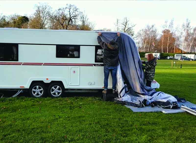 Putting the Vango Rapide II 350 onto the awning rail