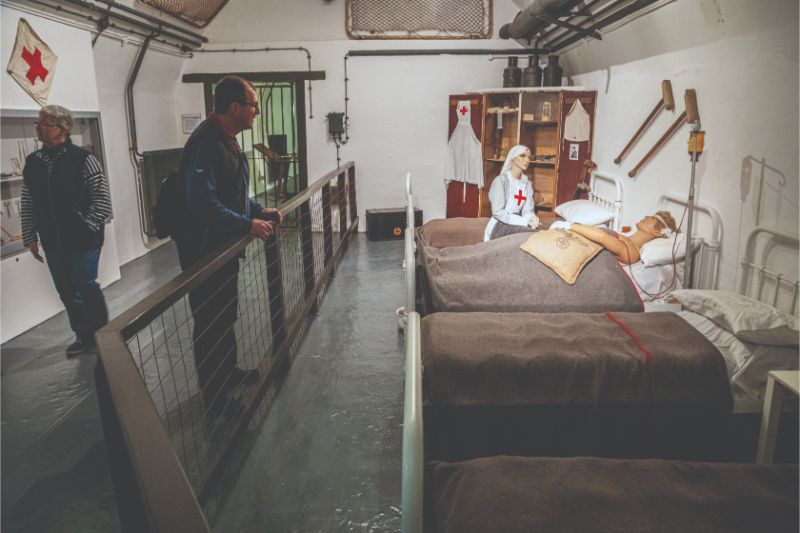 A reconstruction of a German underground hospital ward in the Jersey War Tunnels