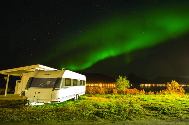 Northern Lights and caravan