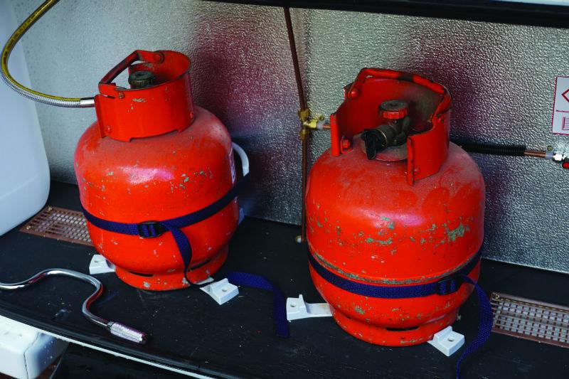 gas bottles in a caravan