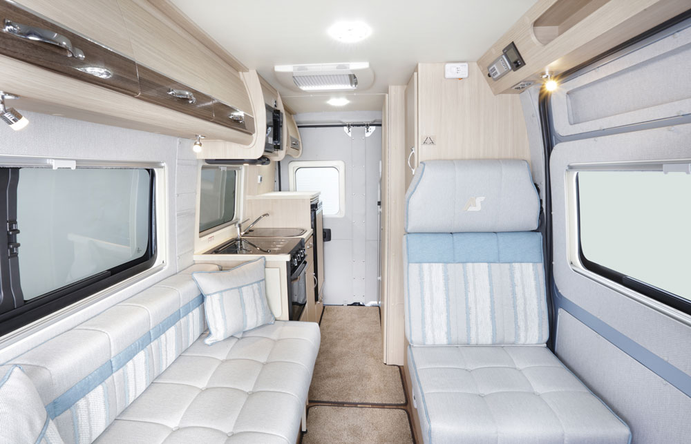 The lounge in the Auto-Sleepers Symbol campervan