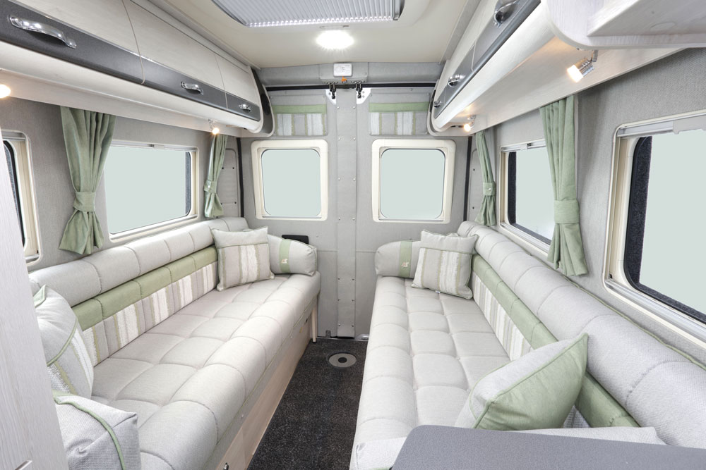 Twin facing sofas in the Auto Sleepers Warwick XL campervan