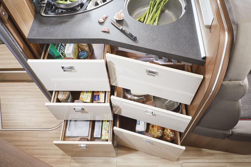 Drawers in the kitchen of the Carthago C-compactline 144 QB motorhome