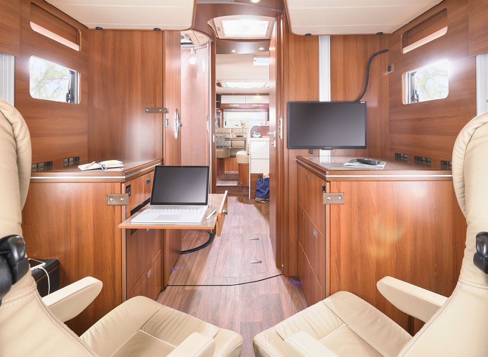 The grand interior of the Carthago Line-for-Two I 53 motorhome