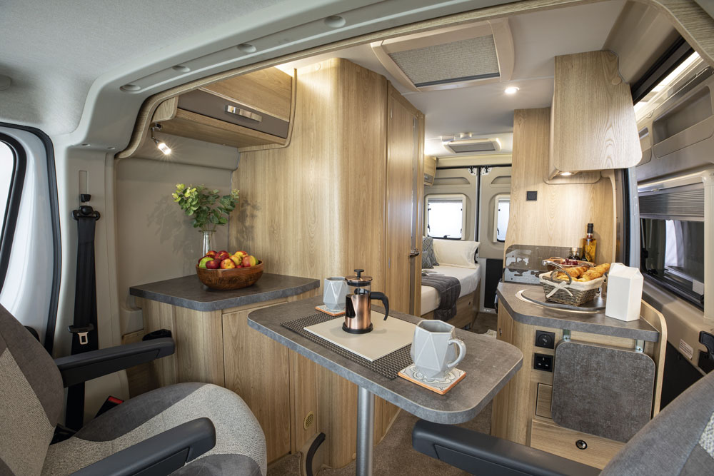 The interior of the Elddis Autoquest CV60 campervan