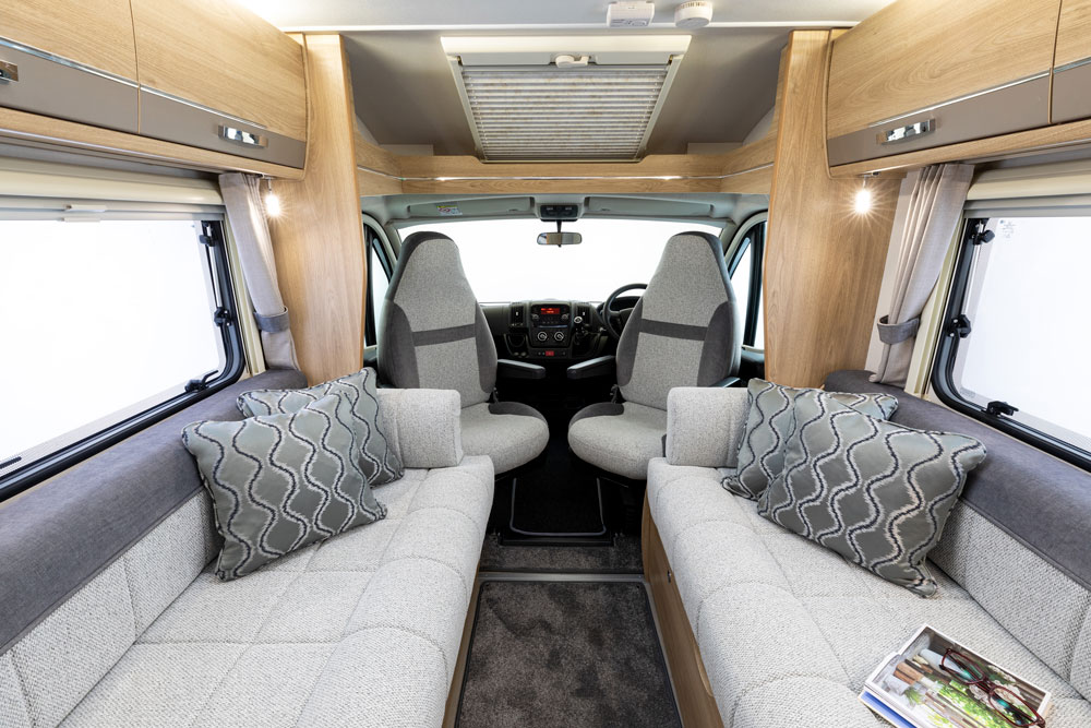 The side-facing sofas in the Elddis Accordo 105 motorhome
