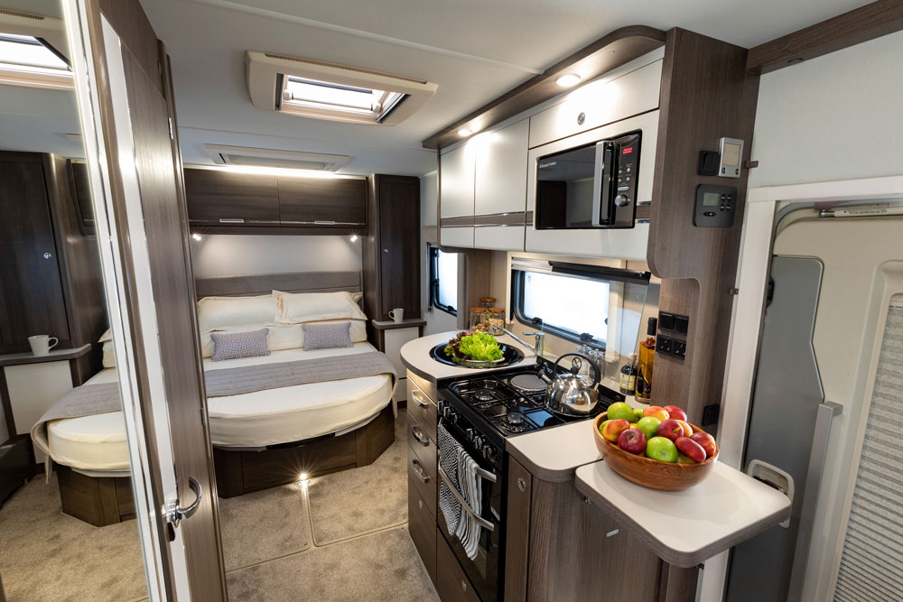 The interior of the Elddis Encore 250 motorhome