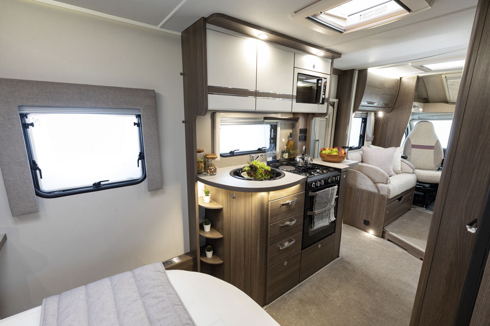 Elddis Encore 250 motorhome - showing kitchen and lounge