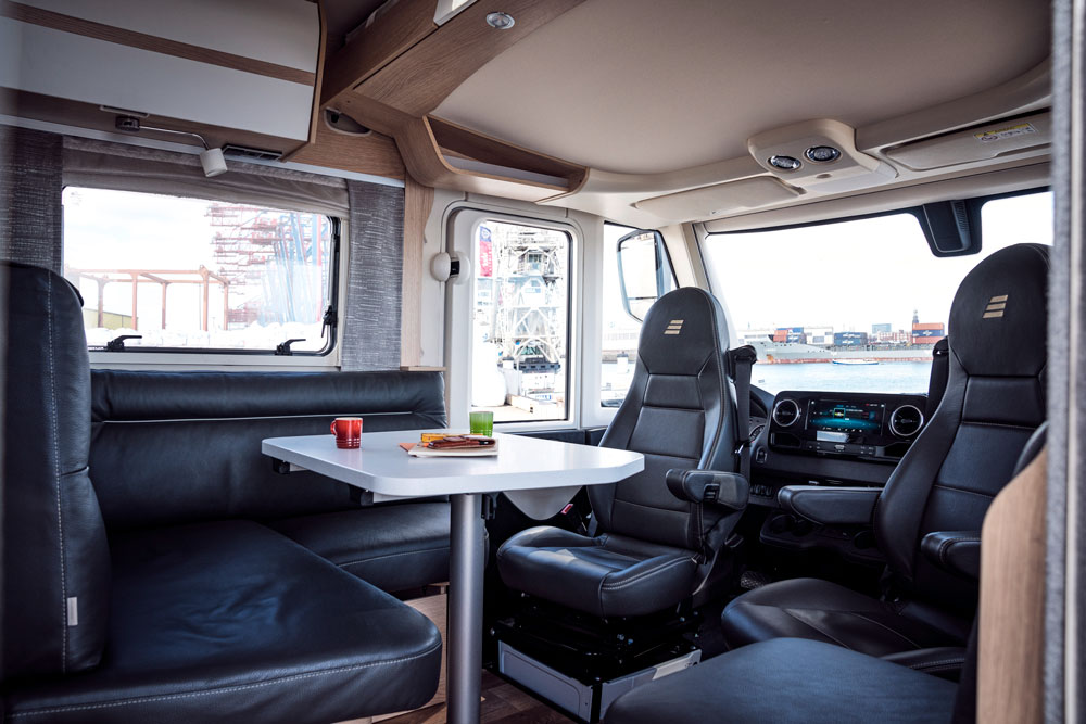 The cab and lounge in the Hymer B-Class MasterLine motorhome