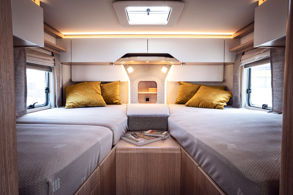 The bedroom in the Hymer B-Class MasterLine motorhome