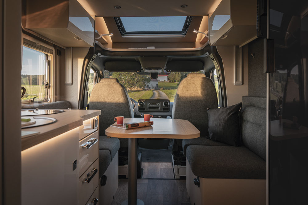 The interior of the Hymer S 695 motorhome
