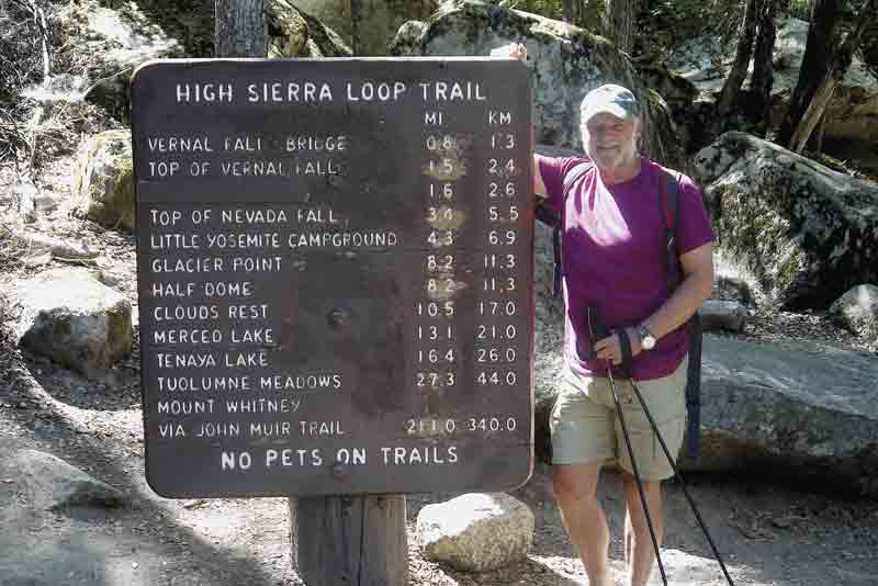 Image of a hiker at the John Muir Trail in California