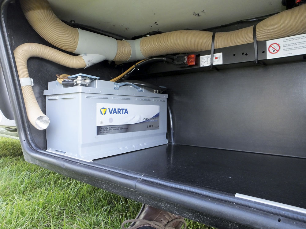 Image of an AGM battery in a Hymer motorhome's heated battery locker