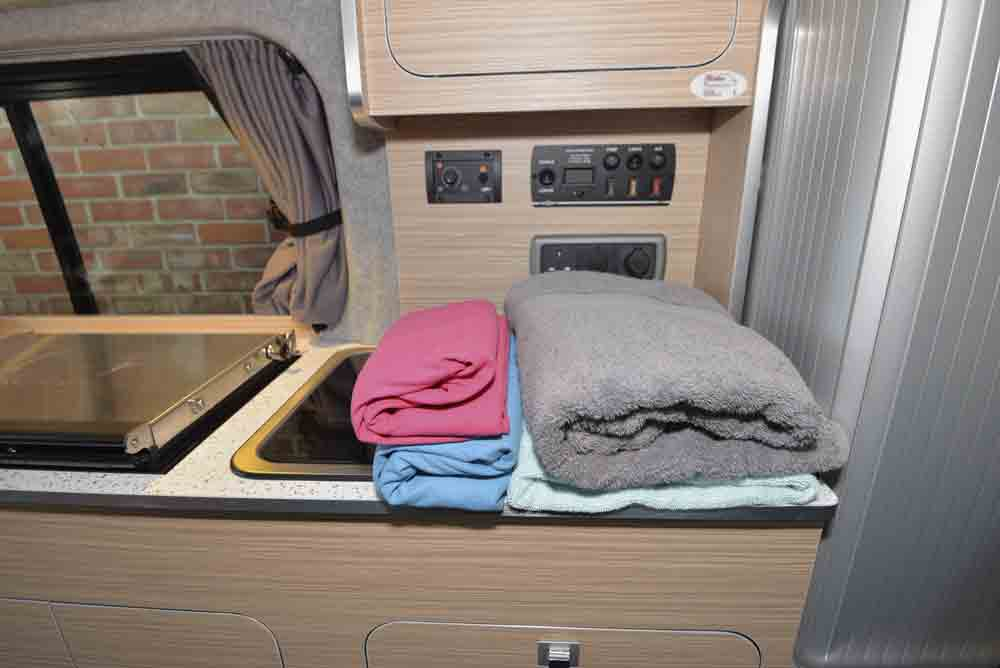 Image of microfibre towels in a motorhome