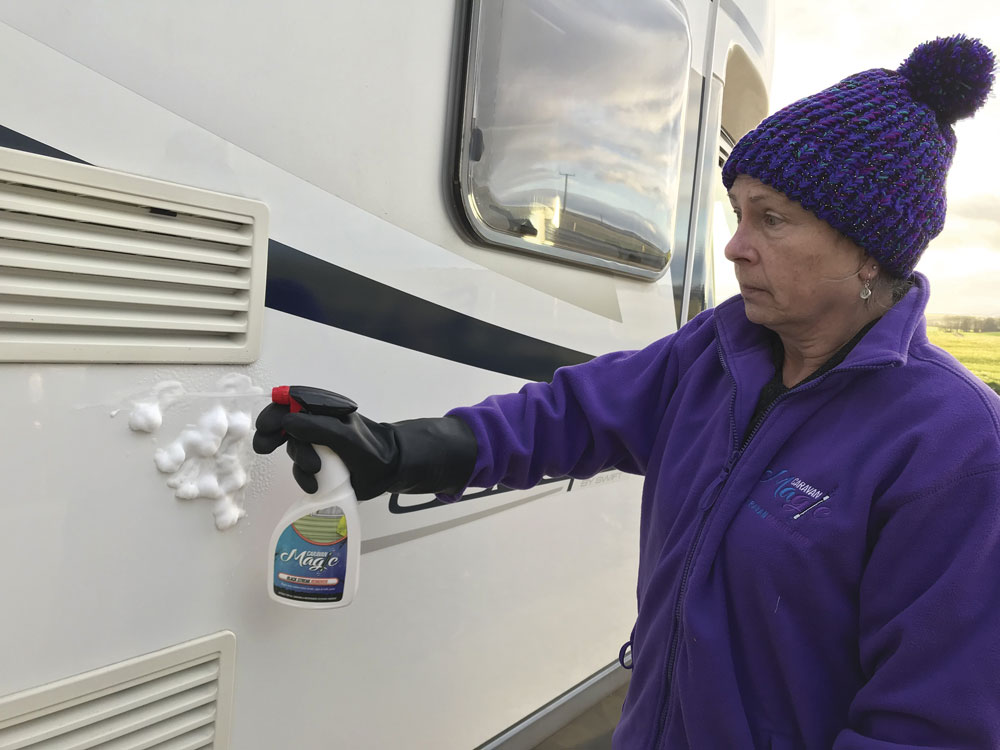 Cleaning the exterior bodywork of a motorhome