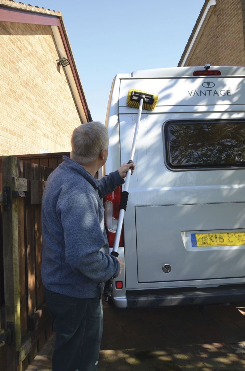 Cleaning the exterior of a motorhome