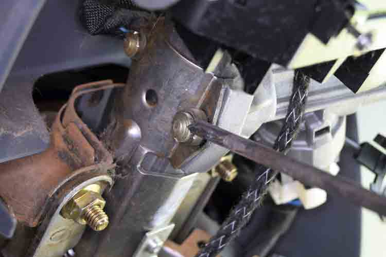 Ducato steering lock image - chisel to remove shear bolts