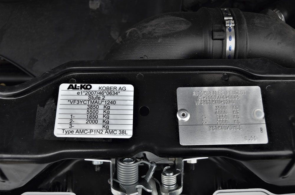 Peugeot (Stage 1) approval plate alongside the Al-Ko Stage 2 approval plate with amended weights