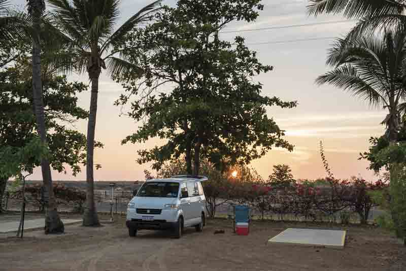 Image of a campervan parked in Karumba Point Sunset Caravan Park