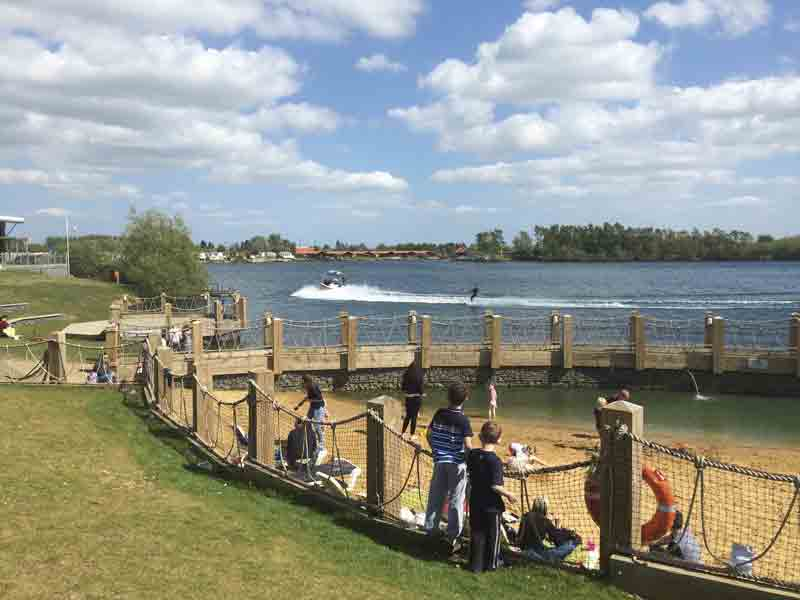 Image of children playing by the beach at Tattershall Lakes in Lincolnshire