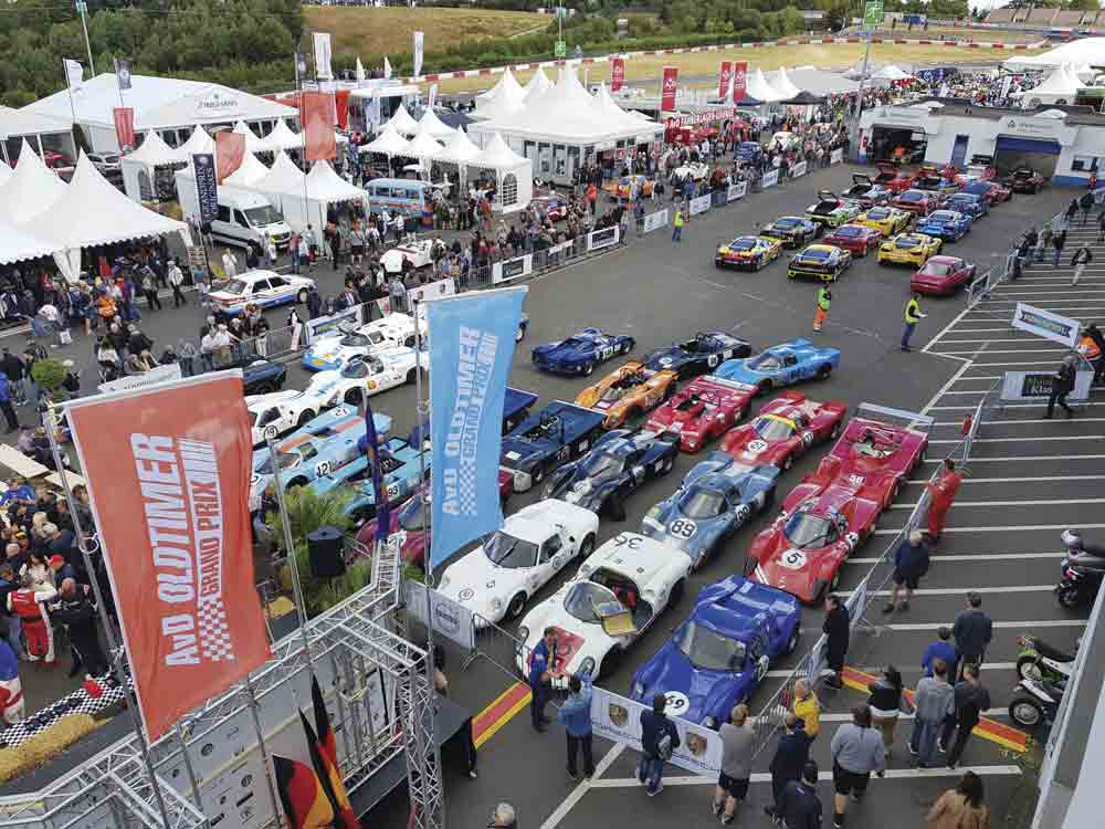 Image of classic cars at the Oldtimer Grand Prix, at Germany's Nurburgring