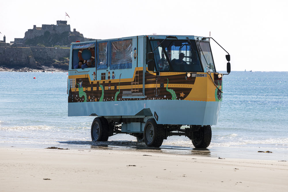 An amphibious vehicle in Jersey