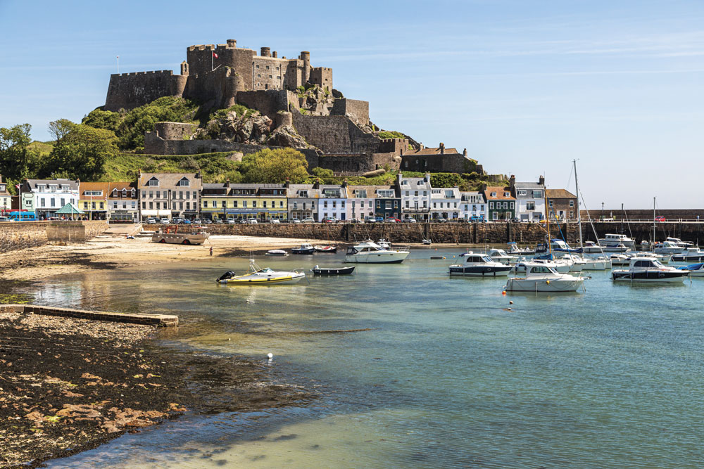 Mont Orgueil Castle and the harbour at Gorey in Jersey