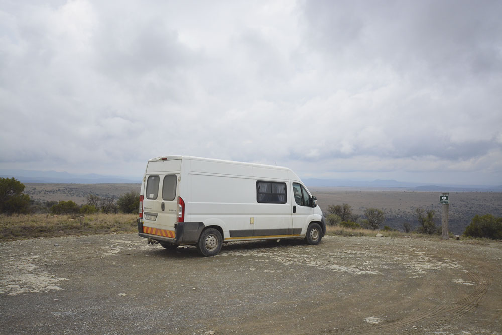 A campervan parked in the Kruger National Park in South Africa