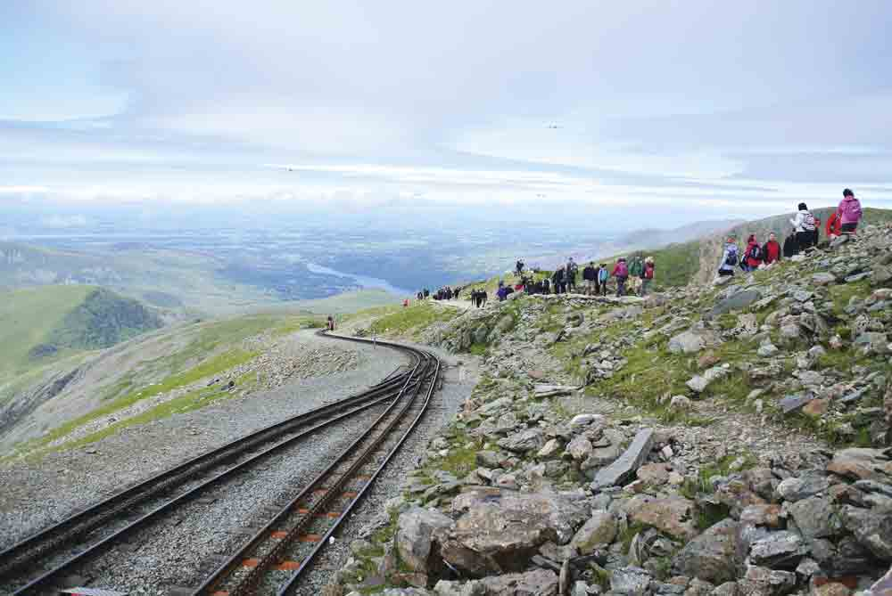 Image of walkers near the summit of Mount Snowdon