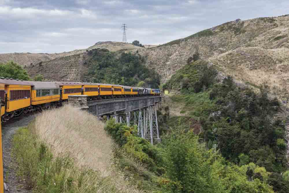 Image of a train in Dunedin, New Zealand