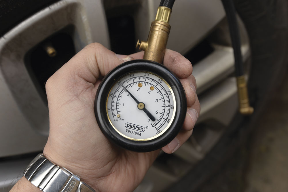 A tyre gauge can check the pressure of tyres