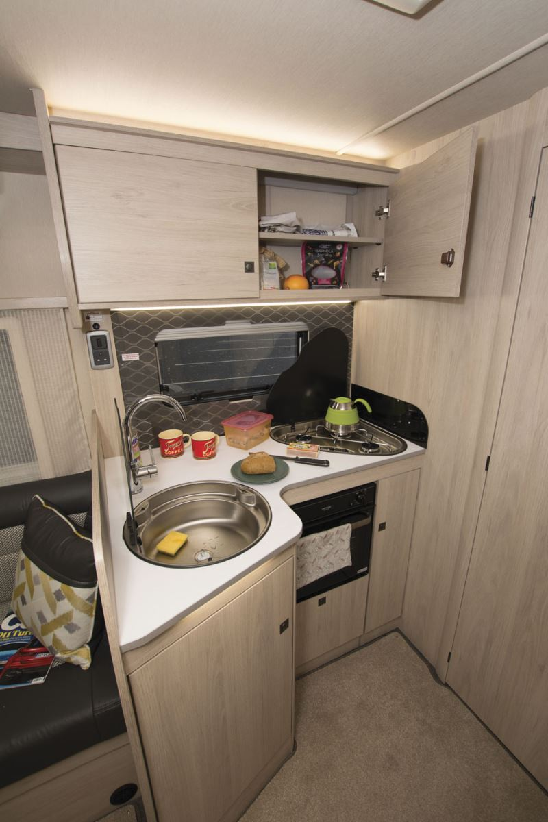 The kitchen in the Auto-Trail Tribute F60