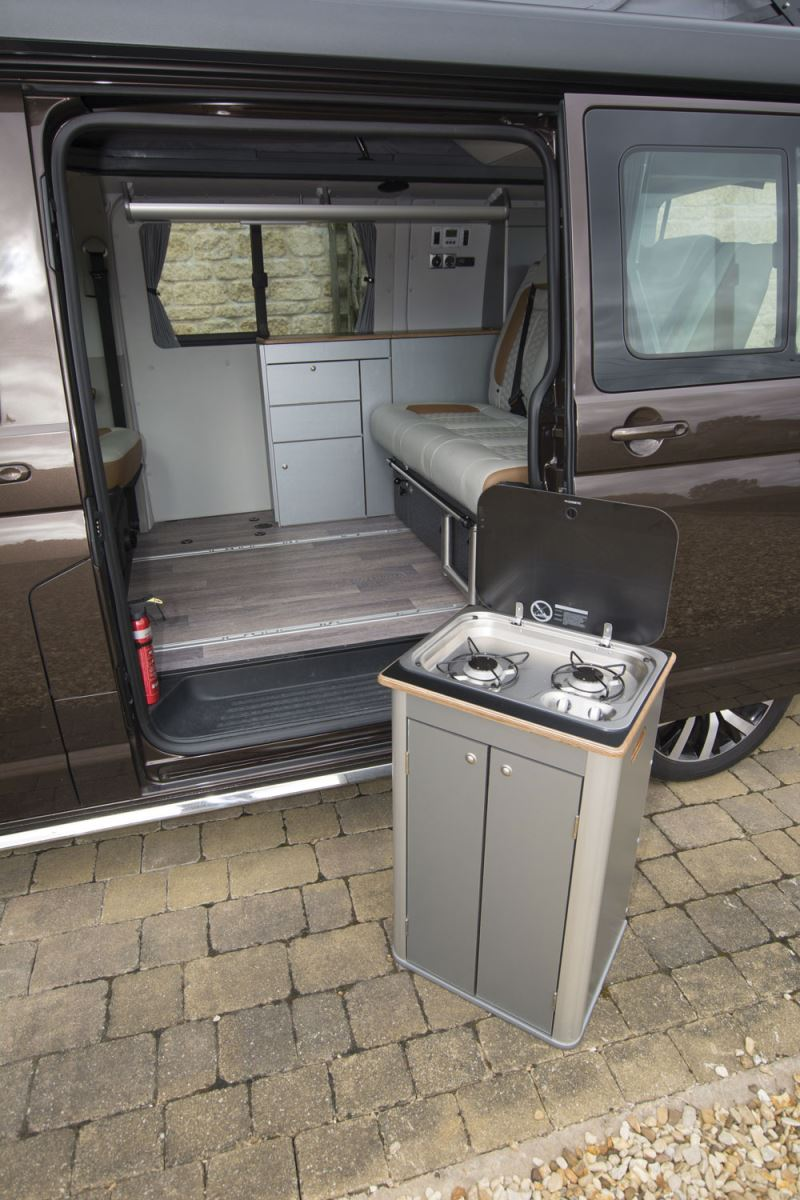 The removal hob in the HemBil Urban campervan