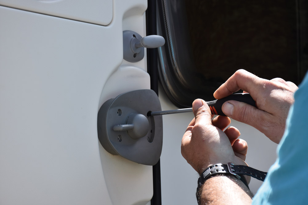 Caravan door lock repairs - stage 1