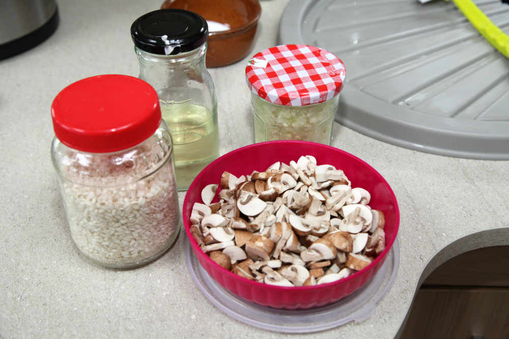 Ingredients for mushroom risotto - cooking in a caravan
