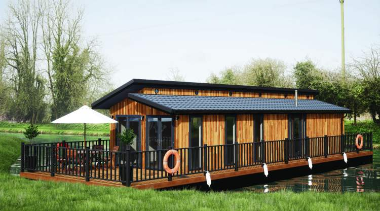 Pathfinder's Floating Lodge, at a marina in Wiltshire