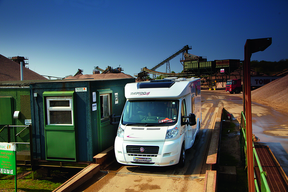 A motorhome at a weighbridge